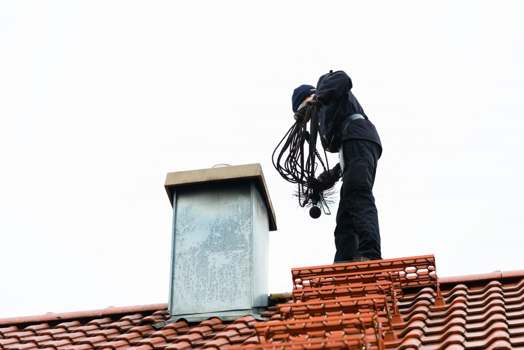 Chimney inspection from roof