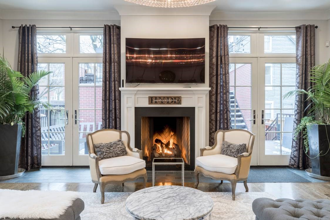 Fireplace burning in a luxurious house
