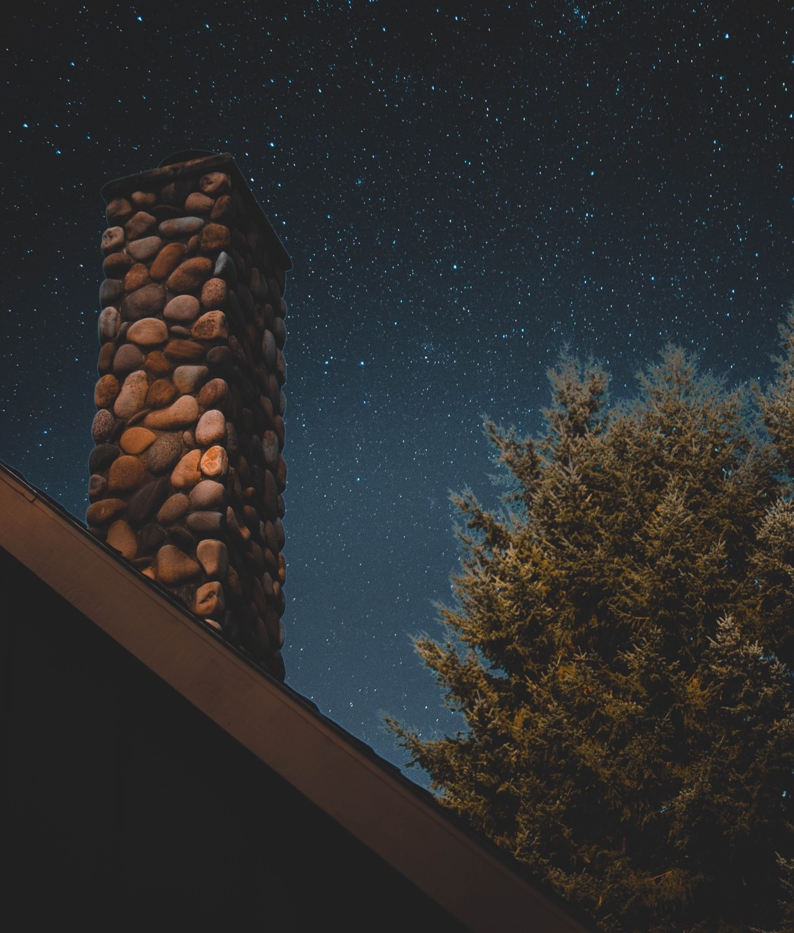 brick chimney on a rooftop